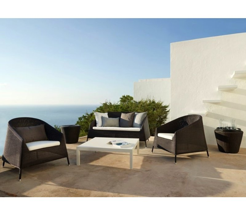KINGSTON 2-SEATER LOUNGE SOFA IN MOCCA CANE-LINE FIBRE