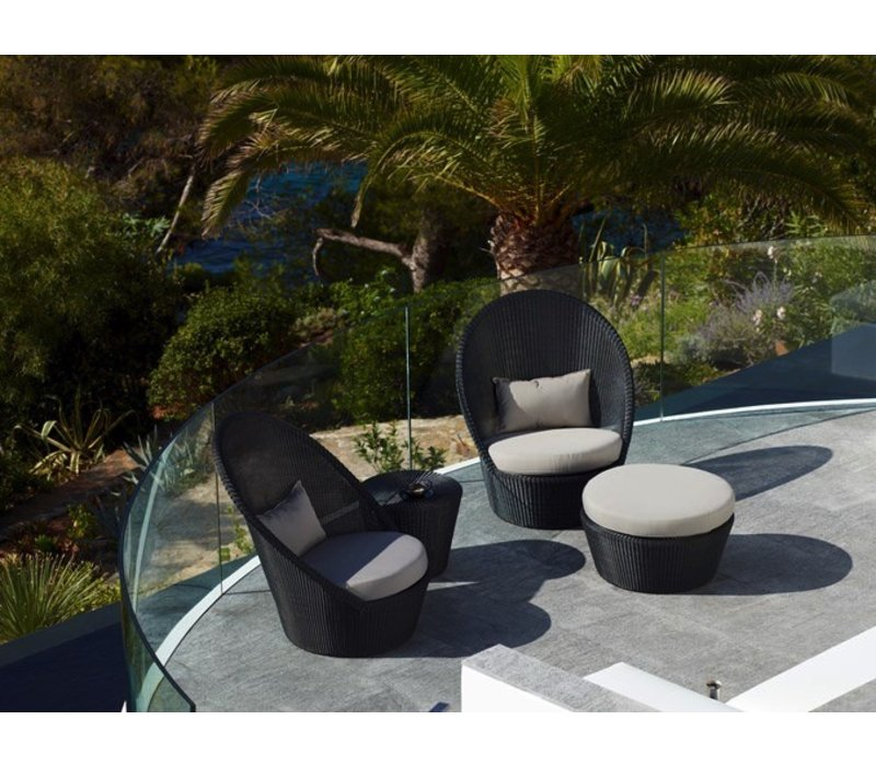 KINGSTON SUNCHAIR WITH WHEELS IN GRAPHITE, CANE-LINE FIBRE