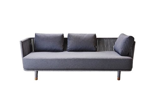 CANE-LINE MOMENTS 3-SEATER SOFA WITH CUSHIONS IN GREY SOFTTOUCH
