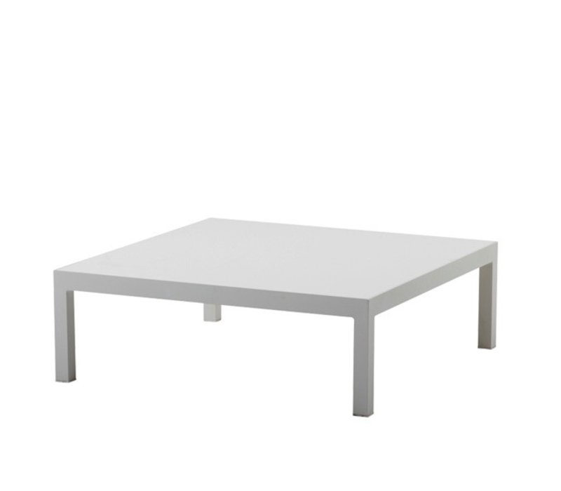 PENTHOUSE 35x35 COFFEE TABLE, WHITE ALUMINUM BASE WITH WHITE CERAMIC TOP