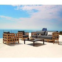 SQUARE LOUNGE CHAIR IN TEAK WITH GREY SOFTTOUCH CUSHION