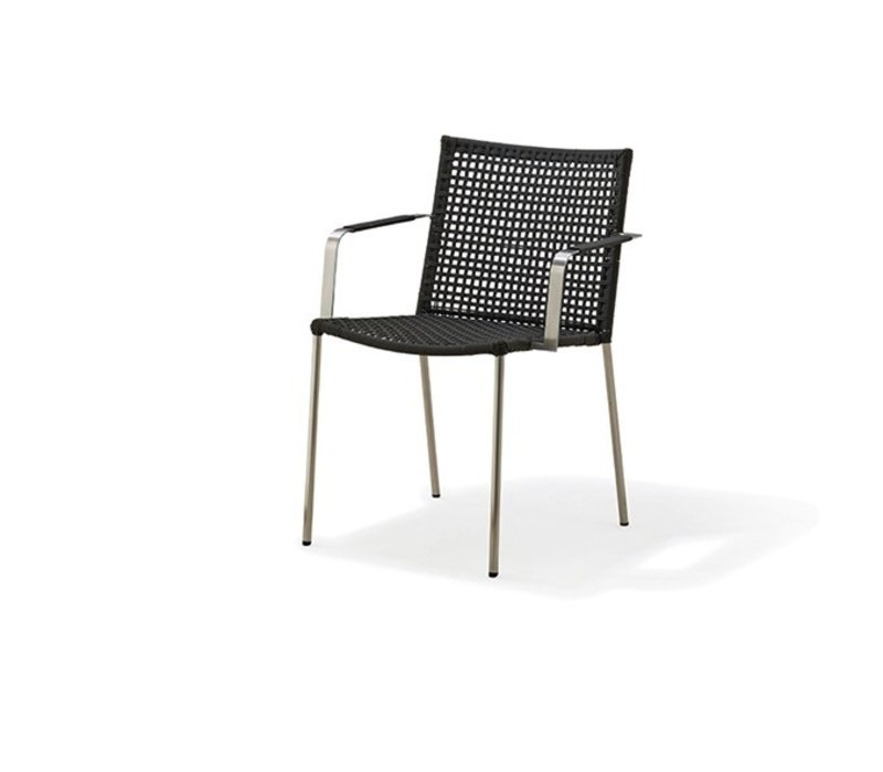 STRAW ARM CHAIR IN ANTHRACITE, CANE-LINE ROPE