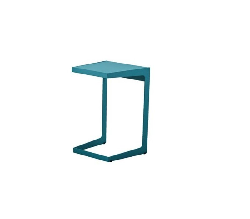 TIME OUT 14x14 SIDE TABLE AQUA, ALUMINUM
