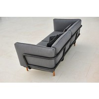 URBAN 3-SEATER SOFA IN LAVA GREY ALUMINUM WITH CUSHIONS IN GREY SUNBRELL NATTE