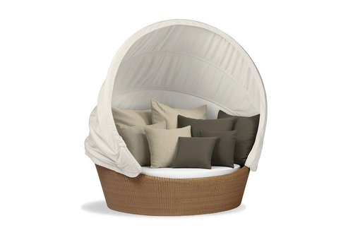 DEDON ORBIT LOVESEAT IN NATURAL WITH WHITE CANOPY