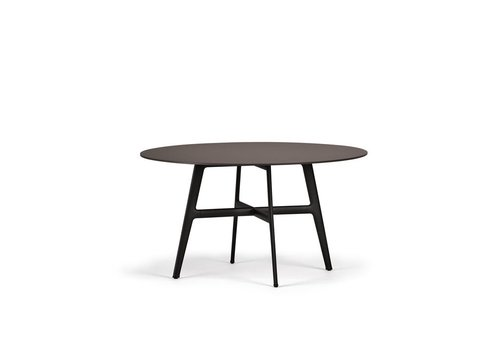 DEDON SEAX 55 INCH ROUND DINING TABLE WITH BLACK BASE AND EBONY TOP
