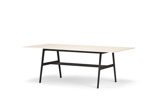 DEDON SEAX 39x87 DINING TABLE WITH  BLACK FRAME AND WHITE TOP