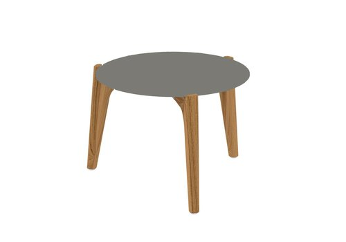 ROYAL BOTANIA TEA TIME 16 INCH ROUND LOW SIDE TABLE / TEAK / PEARL GREY CERAMIC TOP