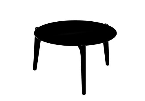 ROYAL BOTANIA TEA TIME 23 INCH ROUND SIDE TABLE / ANTHRACITE ALUMINUM / BLACK CERAMIC TOP