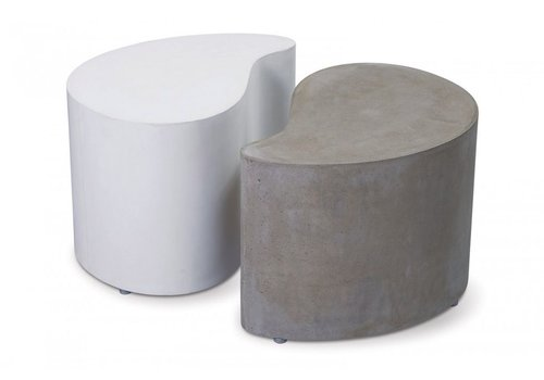 SEASONAL LIVING PAIRED ACCENT TABLES - ONE WHITE/ONE GRAY,