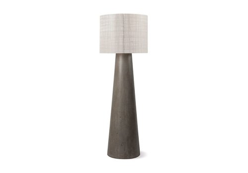 SEASONAL LIVING INDA CORDLESS OUTDOOR LED FLOOR LAMP / GRAY WITH WEAVE SHADE