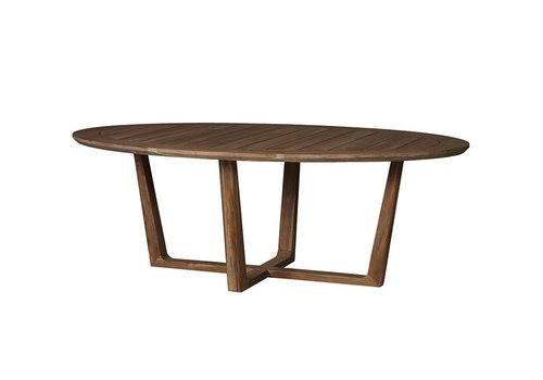 LLOYD FLANDERS TEAK 84 INCH OVAL DINING TABLE WITH SLED BASE