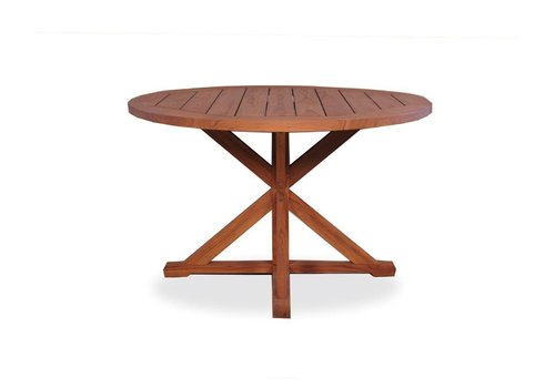 LLOYD FLANDERS TEAK 48 INCH ROUND DINING TABLE WITH TRESTLE BASE