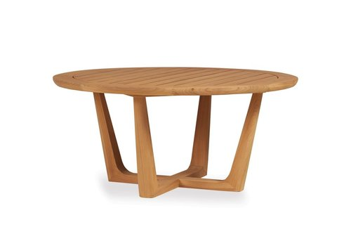 LLOYD FLANDERS TEAK 40 INCH ROUND COCKTAIL TABLE WITH SLED BASE