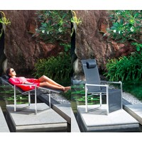 NINIX RECLINING RELAX CHAIR / ELECTRO POLISHED STAINLESS STEEL / BLACK BATYLINE