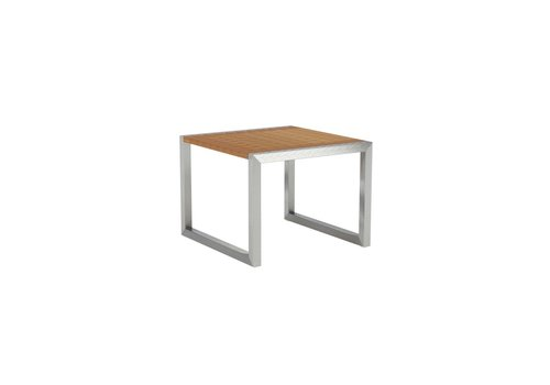 ROYAL BOTANIA NINIX 20 INCH SQUARE SIDE TABLE / BRUSHED STAINLESS WITH TEAK TOP