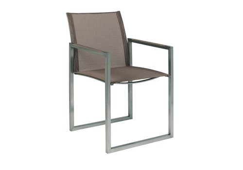 ROYAL BOTANIA NINIX ARM CHAIR / BRUSHED STAINLESS STEEL / CAPPUCCINO BATYLINE