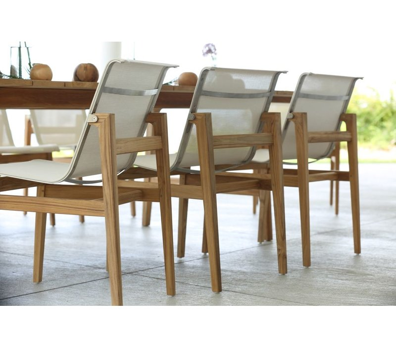 COAST SIDE CHAIR IN NATURAL TEAK WITH CANVAS BATYLINE SLING