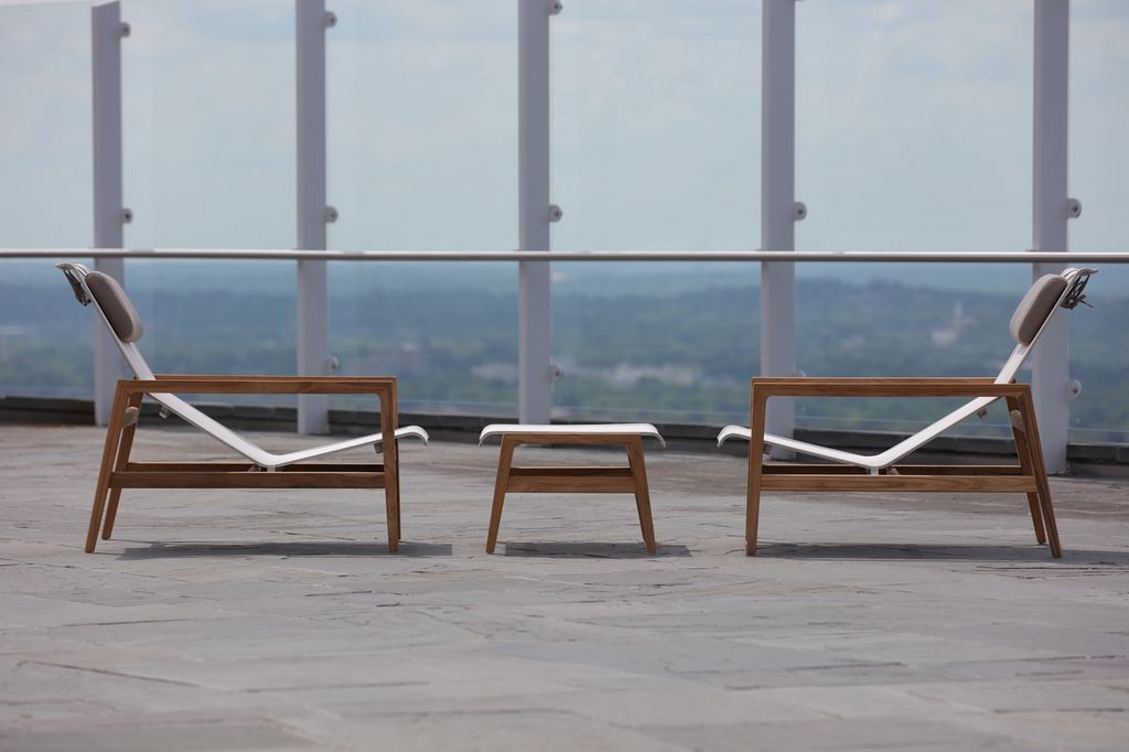 Summer Classics Coast Easy Chair In Natural Teak With Canvas