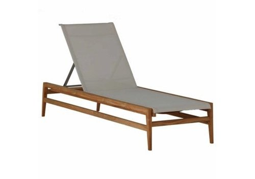SUMMER CLASSICS COAST CHAISE LOUNGE IN NATURAL TEAK WITH CANVAS BATYLINE SLING