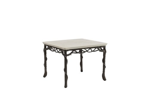 BROWN JORDAN ARBRE 24 SQUARE OCCASIONAL TABLE WITH LILY STONE TOP