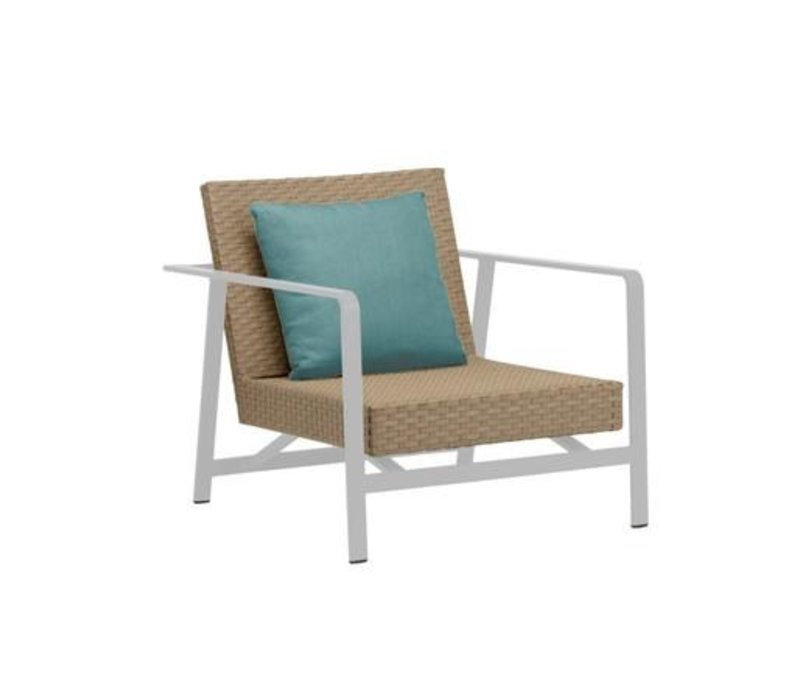ELEMENTS MOTION LOUNGE CHAIR IN MOCA RESINWEAVE WITH 1 BACK PILLOW IN GRADE A FABRIC