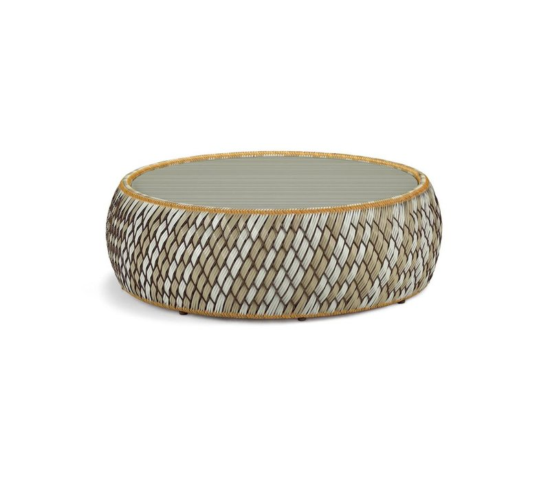 DALA 38 INCH FOOTSTOOL / COFFEE TABLE IN COLOR STONE WITH GLASS TOP INCLUDED