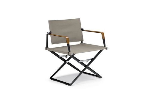 DEDON SEAX LOUNGE CHAIR / BLACK FRAME / SAIL TAUPE TEXTILE / SEA-BENT PLYWOOD ARM ACCENTS