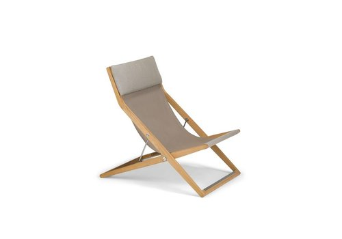 DEDON SEAYOU DECK CHAIR WITH TEAK FRAME AND SAIL TAUPE SLING