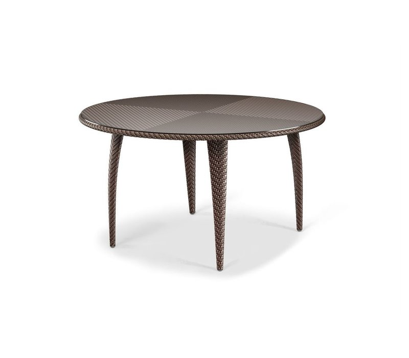 TANGO 51 INCH ROUND DINING TABLE IN BRONZE WITH CLEAR GLASS TOP