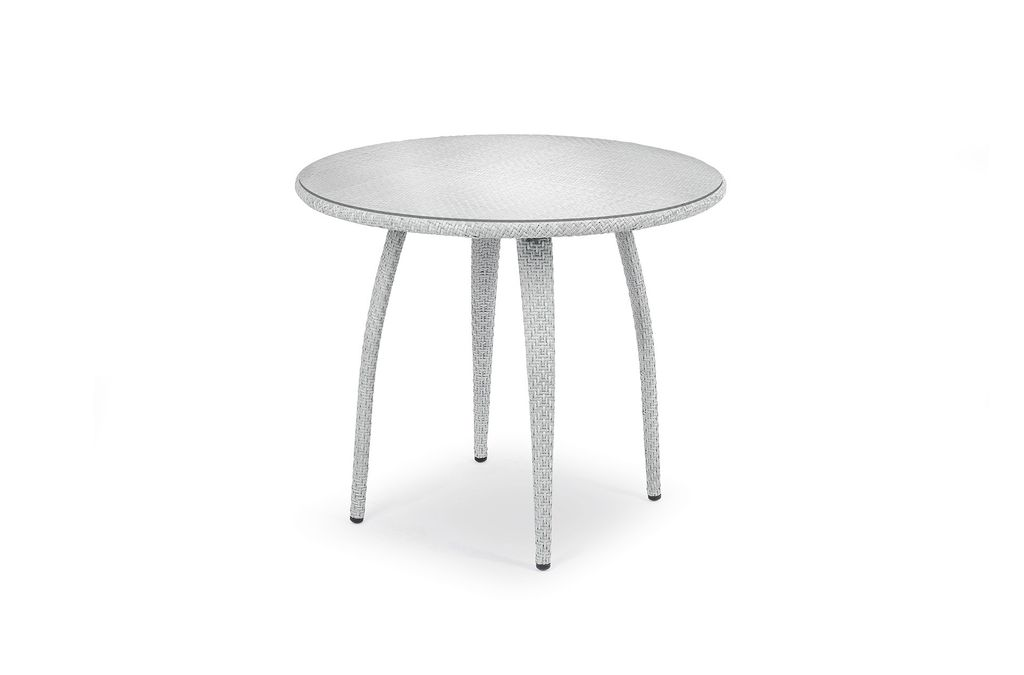 Dedon Tango 36 Inch Round Dining Table In Basalto With Clear Gl Top