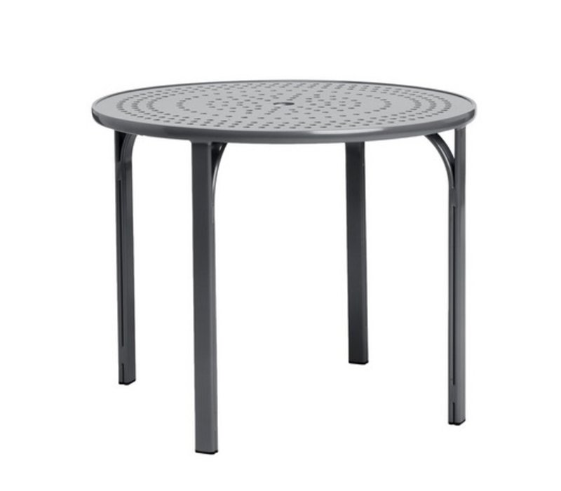 QUANTUM 42 INCH ROUND DINING TABLE WITH NOVA ALUMINUM TOP AND UMBRELLA HOLE