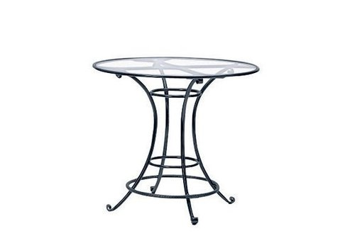 BROWN JORDAN ROMA 42 INCH  ROUND BAR TABLE WITH GLASS TOP