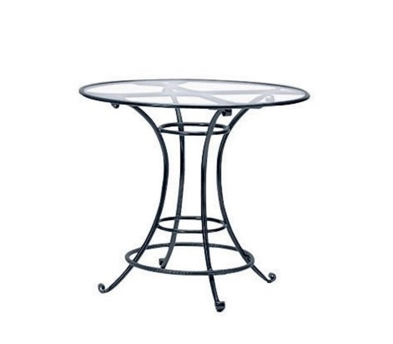 ROMA 42 INCH  ROUND BAR TABLE WITH GLASS TOP