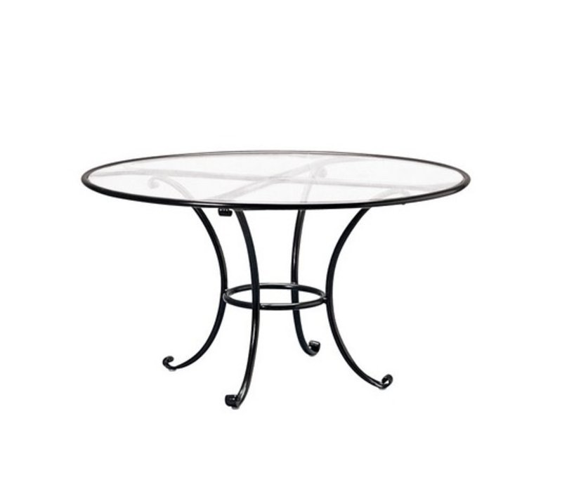 ROMA 48 INCH ROUND DINING TABLE WITH CLEAR GLASS TOP