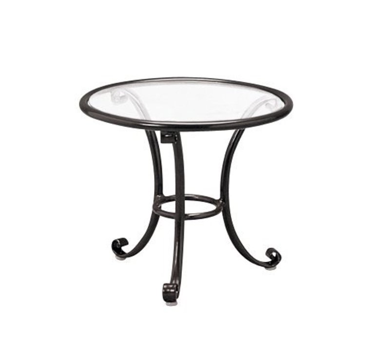 ROMA 18 INCH OCCASIONAL TABLE WITH CLEAR GLASS TOP