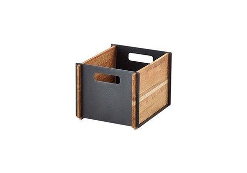 CANE-LINE BOX 12x14 STORAGE BOX / TEAK WITH LAVA GREY ALUMINUM PANELS