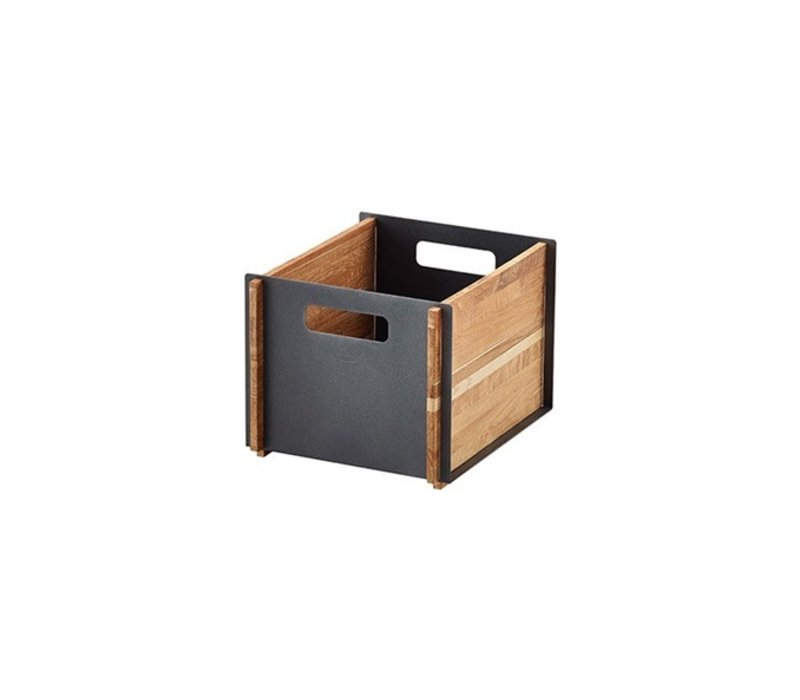 BOX 12x14 STORAGE BOX / TEAK WITH LAVA GREY ALUMINUM PANELS