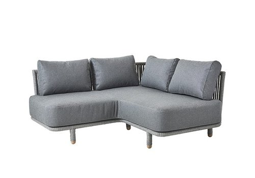 CANE-LINE MOMENTS CORNER MODULE WITH CUSHIONS IN GREY SOFTTOUCH