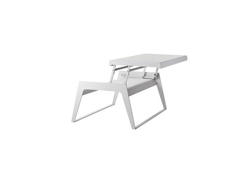 CANE-LINE CHILL-OUT COFFEE TABLE IN WHITE ALUMINUM WITH SINGLE, DUAL HEIGHT TOP
