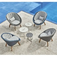 PEACOCK LOUNGE CHAIR IN MIDNIGHT / DUSTY BLUE WEAVE WITH TEAK LEGS
