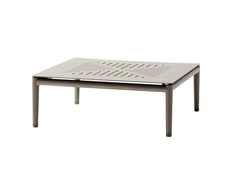 CANE-LINE CONIC COFFEE TABLE 30x30 IN TAUPE ALUMINUM