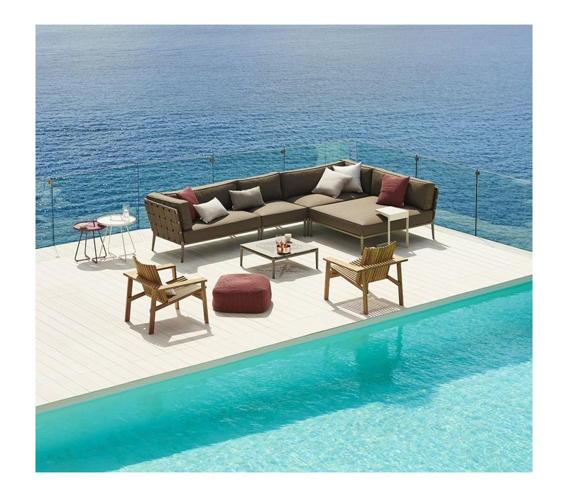 CONIC DAYBED MODULE WITH CUSHIONS IN BROWN CANE-LINE SOFT TOUCH