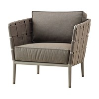 CONIC LOUNGE CHAIR WITH CUSHIONS IN BROWN CANE-LINE SOFT TOUCH