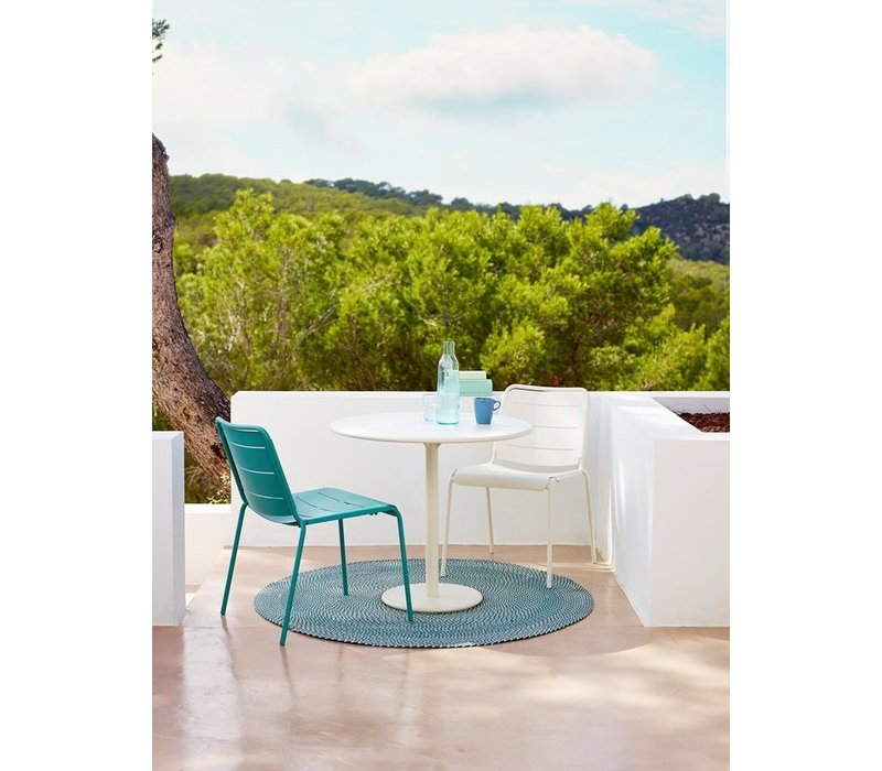 COPENHAGEN SIDE CHAIR IN AQUA ALUMINUM / SOLD IN SETS OF 2 ONLY
