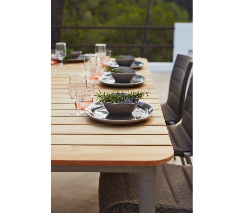 CORE 83x39 DINING TABLE WITH LAVA GREY ALUMINUM FRAME AND TEAK TOP