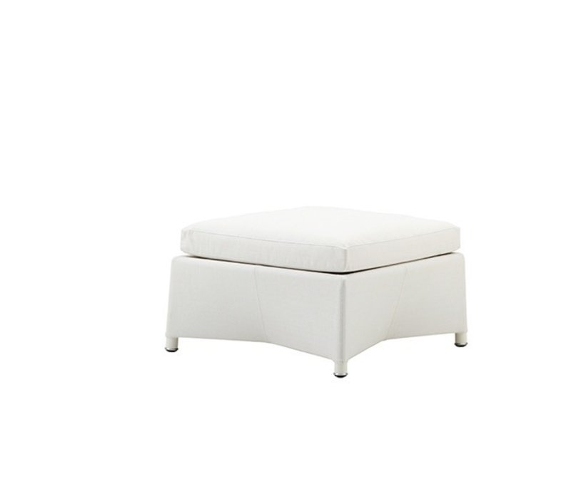DIAMOND FOOTSTOOL IN WHITE TEX WITH CUSHION IN WHITE CANE-LINE TEX