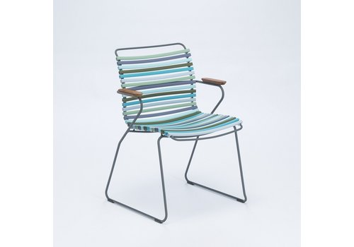 HOUE CLICK DINING ARM CHAIR WITH MULTI COLOR POLYPROPYLENE PLASTIC SEAT AND BACK, POWDER COATED STEEL FRAME AND BAMBOO ARM RESTS.