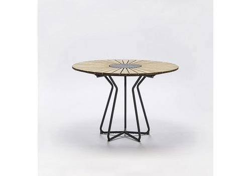 HOUE CIRCLE 43 INCH ROUND TABLE WITH BAMBOO SLATS, GRANITE CENTER AND POWDER COATED STEEL FRAME