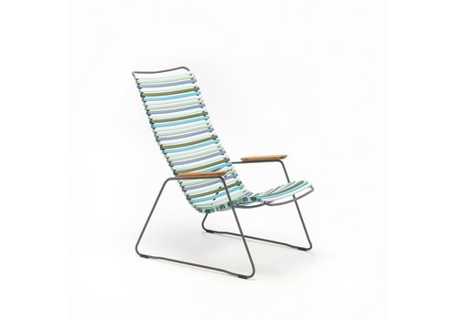 HOUE CLICK LOUNGE CHAIR WITH MULTI COLOR POLYPROPYLENE PLASTIC SEAT AND BACK, POWDER COATED STEEL FRAME AND BAMBOO ARM RESTS.